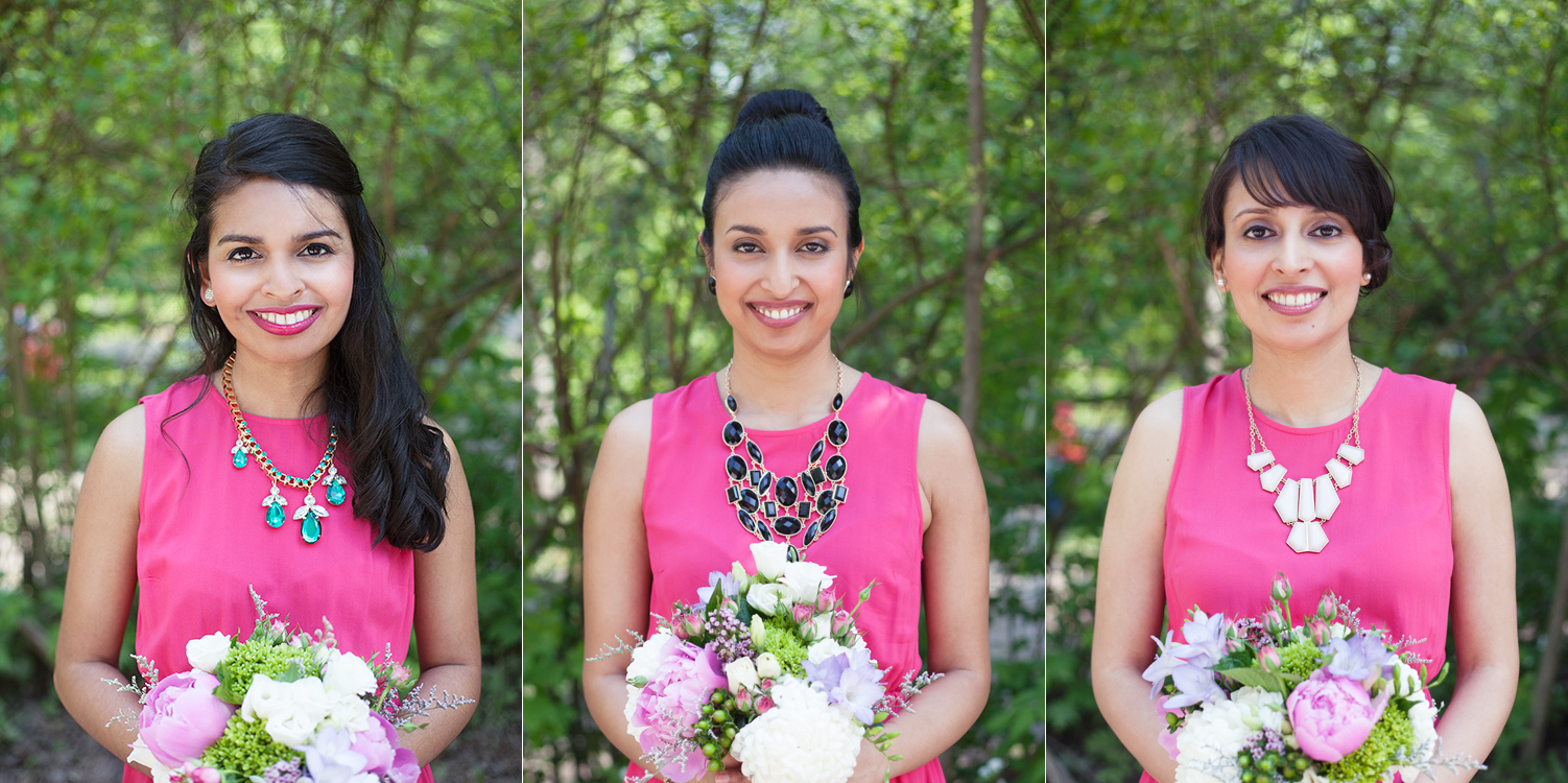 Triptych of bridesmaids